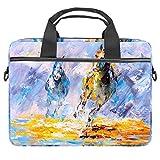 Ölgemälde – Laufendes Pferd, Laptop-Schutzhülle, Segeltuch-Muster, Aktentasche, Sleeve für 13,3-14,5 Zoll Apple MacBook Laptop Aktentasche