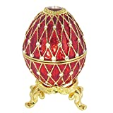 Faberge Style Red Egg Statuette Collectible Antique Crystal Proposal Wedding Jewelry Vintage Gift Box