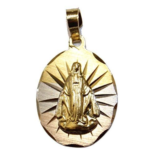 Diamantados of Florida Virgen Milagrosa - Medalla Nuestra Señora La Milagrosa chapada en oro de 14 quilates con cadena de 50,8 cm