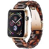 Miimall Correa de Resina Compatible con Apple Watch Series SE/6/5/4/3/2/1 42mm 44mm, Correa con Hebilla de Acero Inoxidable Plegable Banda Reloj de Repuesto para iwatch Series SE/6/5/4/3/2/1