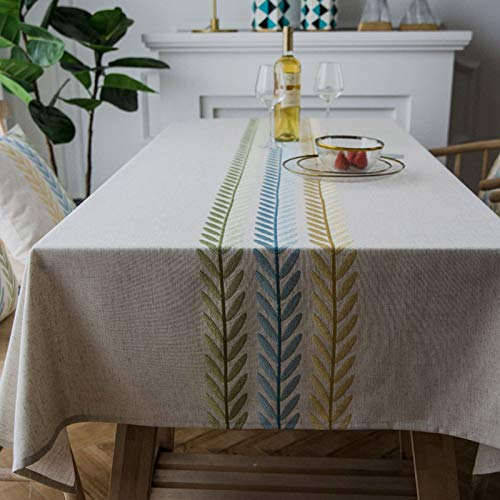 Oukeep Nordic Linen Embroidered Tablecloth Rhombus Geometric Waterproof Table Mat Multifunctional Cover Towel