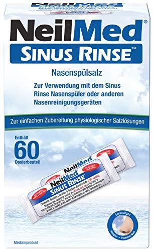NeilMed Nasenspülsalz für physiologische Salzlösungen, hilft bei Erkältungen, verstopfter Nase und Allergien, sofort lieferbar 60 Portionen Nasenspülsalz