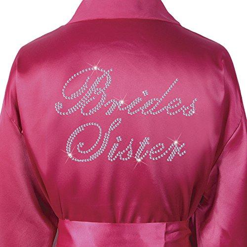 CrystalsRus Pink Varsany Hochzeitstag Strass Satin Schwester der Braut Bademantel individueller Flitterwochen Morgenmantel