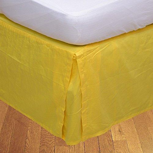 Living & Co 1 jupe de lit plissée (Taupe, petit lit simple simple (0,6 m x 1,8 m), longueur de chute 40 cm) 100 % coton égyptien véritable de qualité supérieure 300 fils au pouce carré.