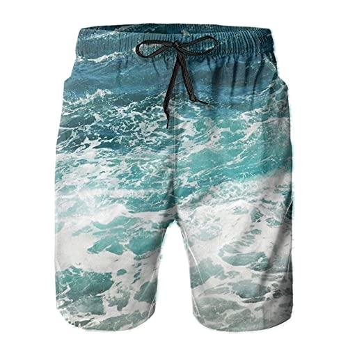 Yesliy Blue Ocean Waves - Pantalones cortos para hombre (secado rápido)