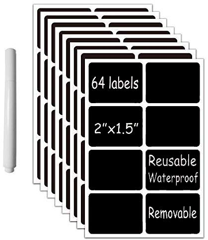 """Chalkboard Vinyl Labels- 64 Premium Reusable Chalk Stickers-Removable Waterproof Blackboard Label for Mason Jars, Parties, Craft Rooms, Weddings (Rectangular 2""""x1.5"""" with a White Chalk Marker)"""