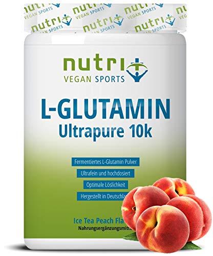 L-GLUTAMINE met smaak perzik ijsthee - 500g Powder - 99,95% puur - veganistisch & hoog gedoseerd - Nutri-Plus L-Glutamin Poeder Ice-Tea Peach Flavour