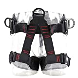 TRIWONDER Climbing Harnesses Protect Waist Safety Harness Wider Half Body Harness for Rock Climbing Tree Climbing Fire Rescue Expanding Training Rappelling Mountaineering (Black - Upgraded Version)