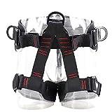 TRIWONDER Arnés de Escalada Proteger Cinturones de Seguridad para Escalada de Rock Montañismo Alpinismo Expedición (Negro - Versión Mejorada)