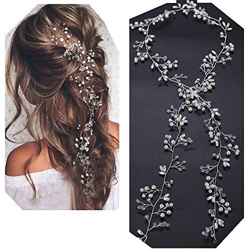 Lalia Vintage Haarschmuck, Band, Hochzeit, Kristall elegant Braut Retrostil Diadem Haarschmuck klar, Perlen, silber 35cm