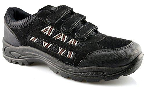 Dek Homme Chaussures Baskets de randonnée Marche Trail laçage tactile Taille 39-48 - noir - noir,