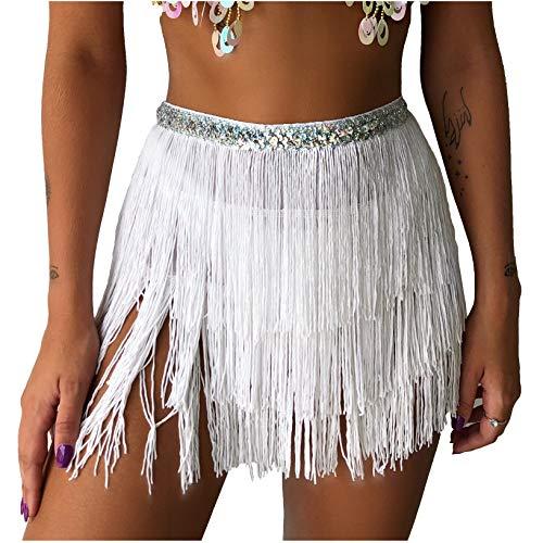 Wuchieal Belly Dance Costume Hip Scarf Belt Tribal Fringe Tassel wrap Belt (White, One Size)
