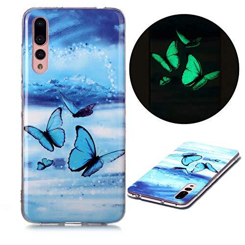 Miagon Leuchtend Luminous Hülle für Samsung Galaxy A30S,Fluoreszierend Licht im Dunkeln Handyhülle Silikon Case Handytasche Stoßfest Schutzhülle,Blau Schmetterling
