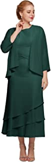 AW Mother of The Bride Dresses with Jacket Plus Size Wedding Guest Dresses for Women Formal Dresses with Sleeves