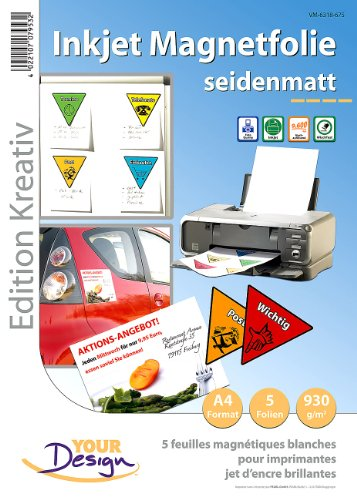 Your Design Magnetplatten: 5 Inkjet-Magnetfolien A4 matt/weiß (Fotopapier wasserfest)
