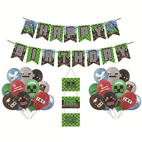 INTVN Video Game Partyzubehör - Video Game Party Luftballons Geburtstag Banner, 24PCS Video Game Party Luftballons, 12-Zoll-Gaming-Geburtstagsballons für Miner Gamer Party Favors