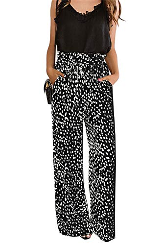 chimikeey Womens High Waisted Leopard Print Palazzo Pants Belted Wide Leg Long Trousers with Pockets Black