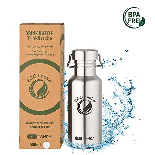ECOtanka miniTANKA Trinkflasche aus Edelstahl 0,6 Liter auslaufsicher - Wasserflasche BPA frei mit Wave-Verschluss