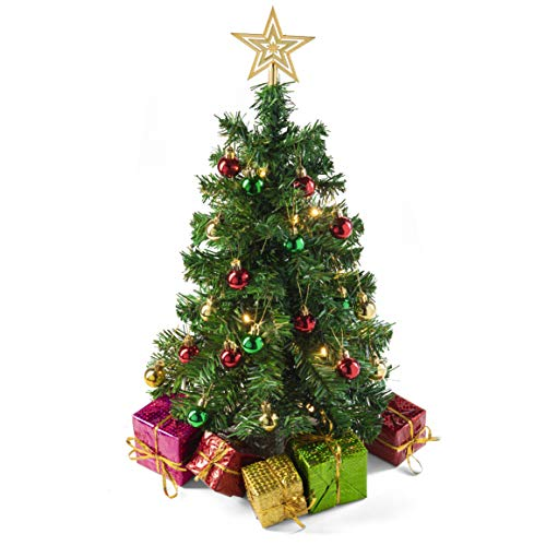 Prextex 23-Inch DIY Tabletop Mini Christmas Tree with Warm-White LED Lights, Star Treetop, Decorated Gift Boxes and Hanging Ornaments for DIY Christmas Decoration