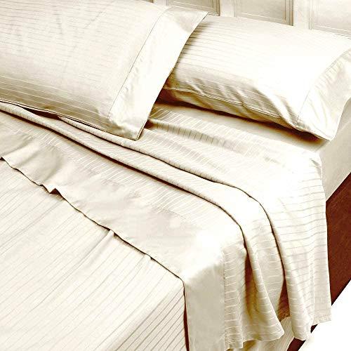 Completo Lenzuola Matrimoniale in Raso di Puro Cotone Rigato Colore Avorio Riga 2,5 cm (Lenzuolo sopra 260x290, Lenzuolo sotto Angoli 180x200, federe 52x82)