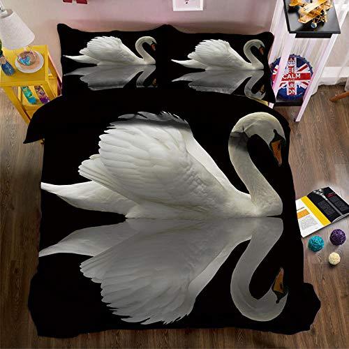 WYRRIG Duvet Cover Set King Black Background White Swan Reflection Bedding Set 3Pcs Reversable Quilt Cover Easy Care Anti-Allergic Soft Comfortable,220X230Cm