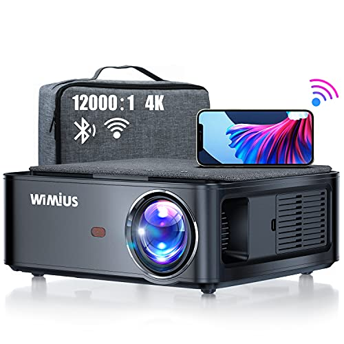 """WiMiUS Newest 5G WiFi Bluetooth Projector Native 1080P LED Projector with Carrying Bag 4K Support 5.1 Bluetooth 4P/4D Keystone, Zoom 500"""" Screen PPT for Home Theater and Office Use (10000)"""