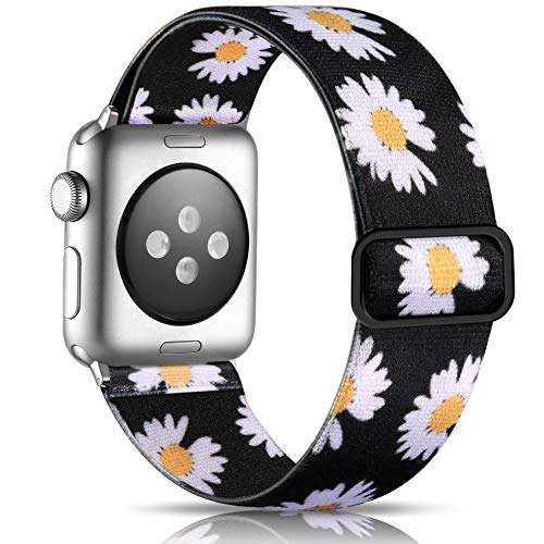 Getino Floral Band Compatible with Apple Watch 42mm 44mm Cute Adjustable Elastic Bands for Women Girls iWatch SE & Series 6 5 4 3 2 1, Daisy Flower Pattern