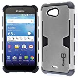 Kyocera Hydro Air Case, Kyocera Hydro Wave Case, CoverON [Smart Armor Series] Slim Phone Cover Corner Bumper + Grip + Card Slot Case for Kyocera Hydro Air/Hydro Wave - Silver & Black