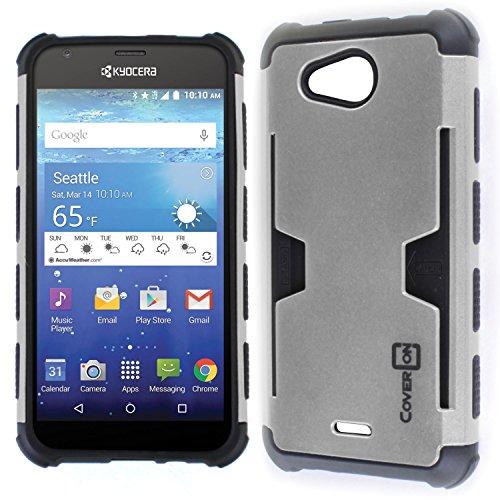 Kyocera Hydro Air Case, Kyocera Hydro Wave Case, CoverON [Smart Armor Series] Slim Phone Cover Corner Bumper + Grip + Card Slot Case for Kyocera Hydro Air/Hydro Wave - Silver & Black
