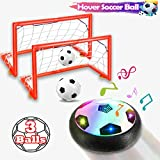 Hover Soccer Ball Kids Toys,Children Air Soccer Disc with 2 Goals, 2 Inflatable Ball, Floating Soccer with LED Light, Indoor Hover Ball with Foam Bumper Funny Hover Toys for Kids(with Music)