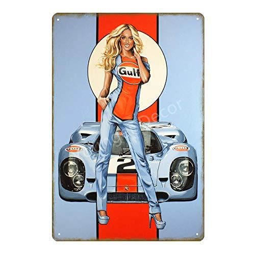 yycsqy Eisenmalerei Zinnmetall Malerei Vintage Metall Wandkunst Blechschilder Plaque Zündkerzen Dekor Motoröl Racing Team Poster Garagenwand Plaque-Yd1542Ei_20X30cm