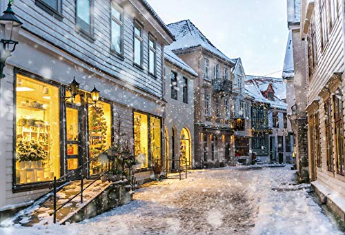 Baocicco 10x8ft Merry Christmas Backdrop Historical Town Illuminated Christmas Shop Snowing Scene European Small Town Winter Snow View Photography Background Travel Theme Christmas Party Photo Booth