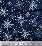 Soimoi Blau Baumwolle Batist Stoff Schneeflocken & Star