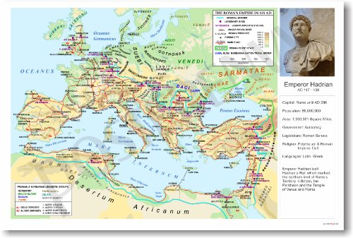 Ancient Rome: The Roman Empire under Hadrian - Classroom Poster