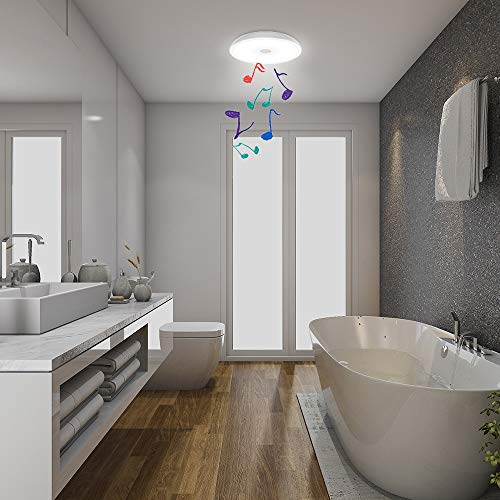 Horevo Waterproof Ceiling Light Fixture IP65 LED Music Ceiling Lamp for Bathroom, with Bluetooth Speaker and Color Change, 6500K Daylight 18W(150W Equivalent) 1600LM for Kitchen, Laundry, Hallway.