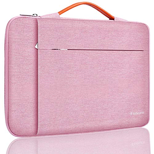 Ferkurn 15.6 15 14 Inch Laptop Sleeve Case Water Repellent Bag with Handle Compatible with MacBook Pro Touch Bar 2020,Chormebook 15, HP, Sony, Samsung, Protective Computer Carrying Case, Pink
