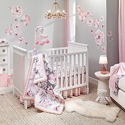 Lambs & Ivy Signature Botanical Baby Watercolor Floral 4-Piece Crib Bedding Set by Lambs & Ivy