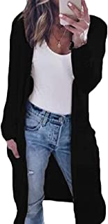 Women's Open Front Knitted Cardigan Sweaters Long Sleeve Outwear with Pockets