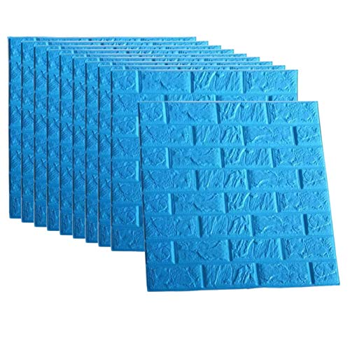 Blue Foam Brick Wall Panels, 3D Foam Brick Peel And Stick Wallpaper Self-adhesive Removable for TV Background, Kids Children Boys Room Wall Decor, Bedroom, Kindergarten/ 10PACk