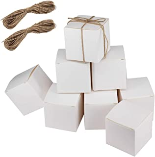 "100 Pack 3""x3""x3"" White Paper Gift Boxes with 2 Bundles of Twine for Gifts, Homemade Cupcakes, Crafts or Soap- Wedding Favor Boxes,Gift Boxes by ZMYBCPACK"