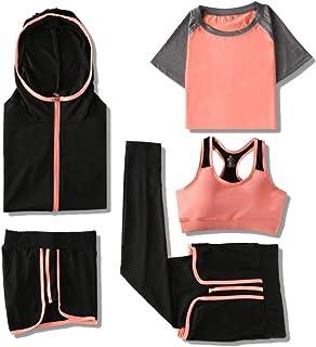 Yoga Wear 5-pieces Set Sport Suits Women's Sweatsuits Yoga Jogging Tracksuits