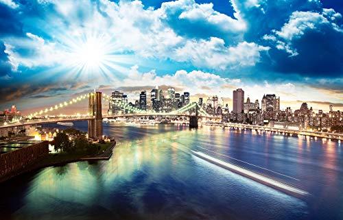 Bilderdepot24 Fototapete selbstklebend New York - 230x150 cm - Tapete Motivtapete - Brooklyn Bridge in NYC