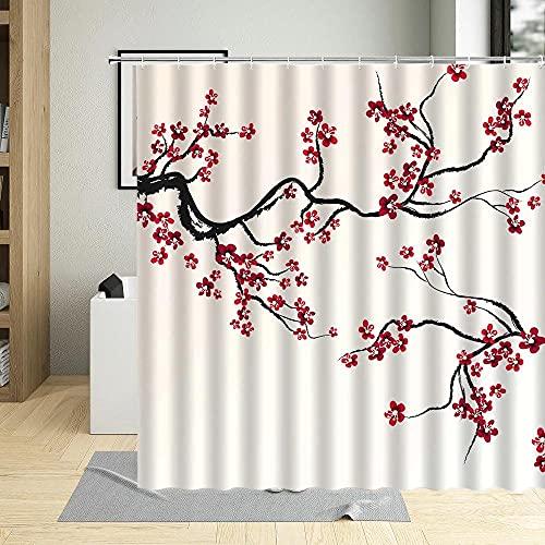 XUSANSHI Duschvorhang Pfirsichblüte nach chinesischer ArtBadezimmer Textil Vorhang Antischimmel-Effekt Shower Curtain Badewanne inkl. 12 C-Ringe Gewicht unten 200x180cm