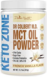 Keto Zone MCT Oil Powder | All Natural Vanilla Flavor | 300 Grams & 30 Day Supply | Recommended in Dr. Colbert's Keto Zone...