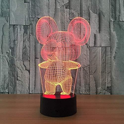 3D Illusionslicht für Kinderzimmer Illusionslicht Koala Trinity Kind WeihnachtenGeburtstagsgeschenk Mit USB-Aufladung bunter Farbwechsel