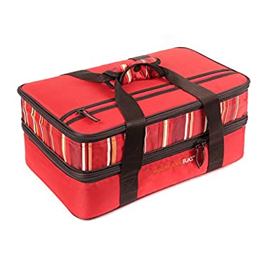 Rachael Ray Expandable Lasagna Lugger, Double Casserole Carrier for Potluck Parties, Picnics, Tailgates - Fits two 9 x13  Casserole Dishes, Red