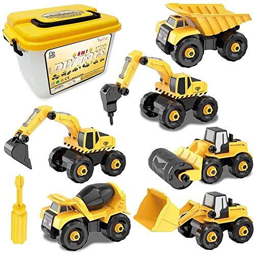 JSY Coche de juguete Excavadora de almacenamiento caja del camión juguete 6 en 1 bricolaje construcción de vehículos SET de la mini muchacha del muchacho juguetes del regalo Coches y camiones de jugue