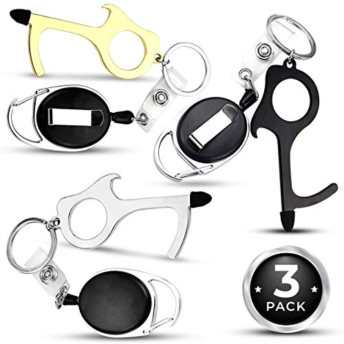 No Touch Door Opener with Stylus - Antimicrobial Brass Body, Multi Tool Keychain with Retractable Carabiner Clip, Bottle Opener and Touch Free Key for Touch Screens, ATM, Elevators and Door Handles