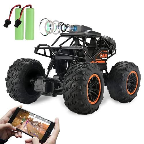 Coche RC 4WD Todo Terreno, Vehículo Teledirigido con Cámara 720P HD FPV, Camiones Monstruos de Alta Velocidad de 2.4GHz, 2 Baterías con 60 Min de Juego, Regalos para Niños Y Niñas