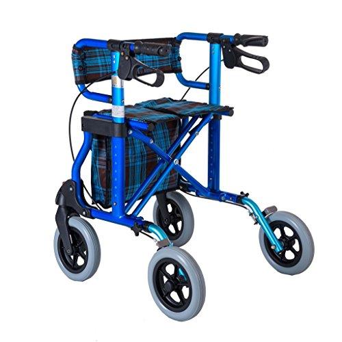 BZEI-WALKERS Rollator de aleación de Aluminio, Ligero Plegable Rollator 4 Ruedas Walker Aid con Asiento Acolchado Lockable Brakes y Bolsa de Almacenamiento, Altura Ajustable, Azul, Carga máxima 136kg